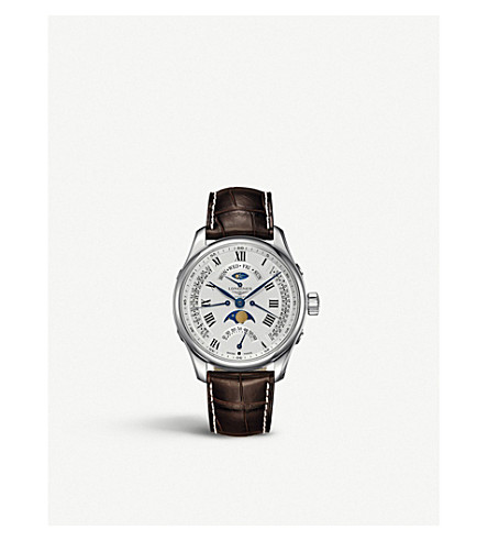 LONGINES L2.739.4.71.3 主月相不锈钢和皮革手表