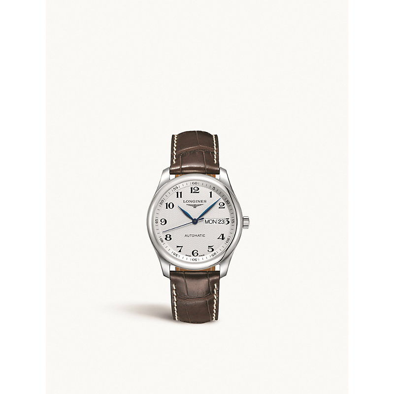 LONGINES L22578783 Master Collection stainless steel automatic leather strap watch