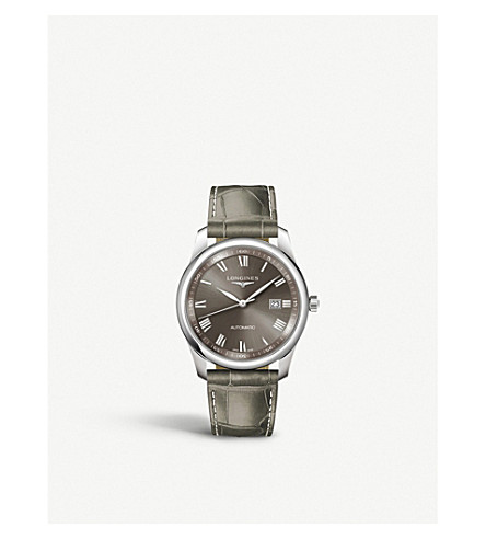 LONGINES L2.793.4.71.3 Master stainless steel and leather watch