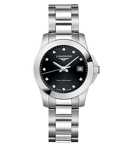 LONGINES L33764576 Conquest classic diamond and stainless steel watch