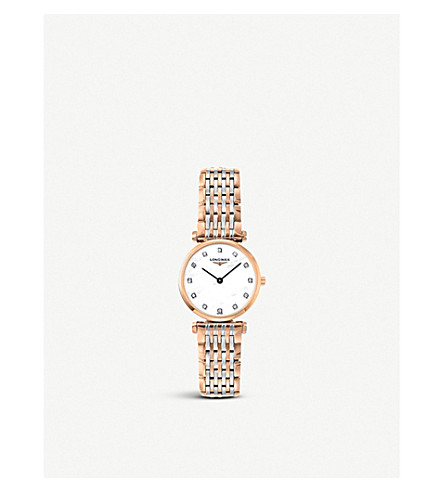LONGINES L42091977 La Grande Classique rose gold-plated, mother-of-pearl and diamond watch (Mother-of-pearl