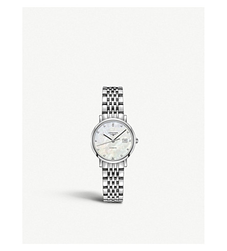 LONGINES L4.309.4.87.6 Elegant diamond, mother-of-pearl and stainless steel watch