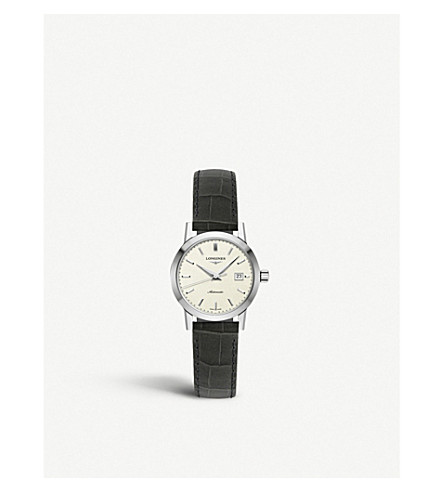 LONGINES L43254922 The Longines 1832 stainless steel and crocodile-embossed leather strap watch