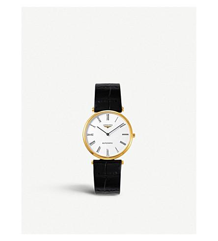 LONGINES L49082112 Classique 存在黄金板和皮革手表