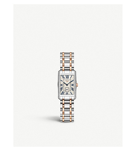LONGINES L5.255.5.79.7 DolceVita 18ct rose-gold, stainless steel and diamond watch
