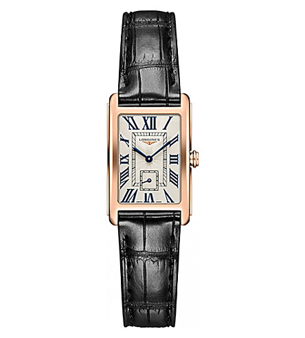 LONGINES L5.255.8.71.0 Dolcevita rose gold and alligator watch