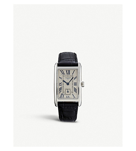 LONGINES L5.512.4.71.0 Dolcevita stainless steel and alligator leather watch