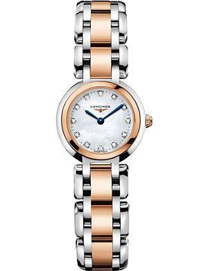 LONGINES L8.109.5.87.6 Primaluna 18ct rose gold stainless steel diamond watch