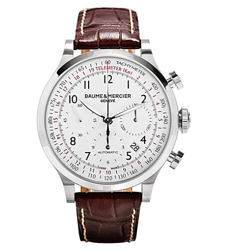 BAUME & MERCIER M0a10082 Capeland chronograph steel and leather watch