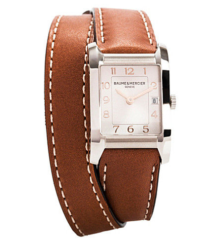 BAUME & MERCIER M0a10110 Hampton steel and leather quartz watch