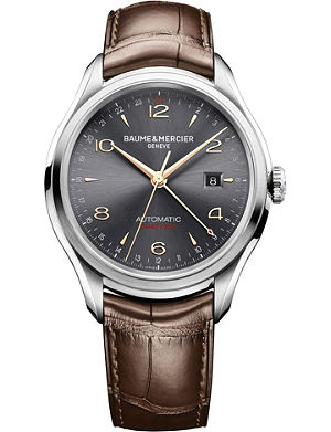 BAUME & MERCIER M0a10111 Clifton GMT steel and leather watch