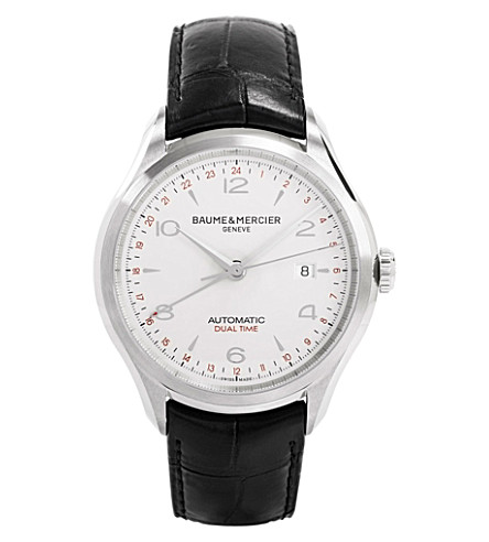 BAUME & MERCIER M0a10112 Clifton GMT steel and leather watch