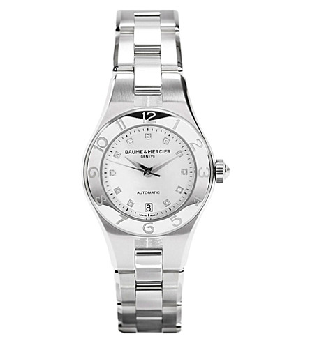 BAUME & MERCIER M0A10113 Linea stainless steel and diamond watch