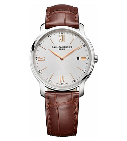 BAUME & MERCIER M0A10144 classima steel and leather watch