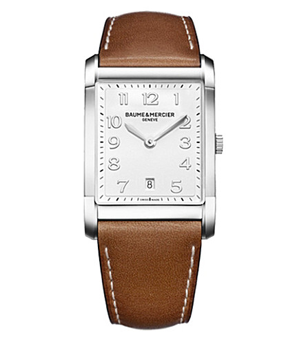 BAUME & MERCIER Hampton 10153 polished steel and leather watch (White