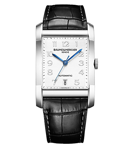 BAUME & MERCIER M0a10054 Hampton stainless steel and leather watch (White