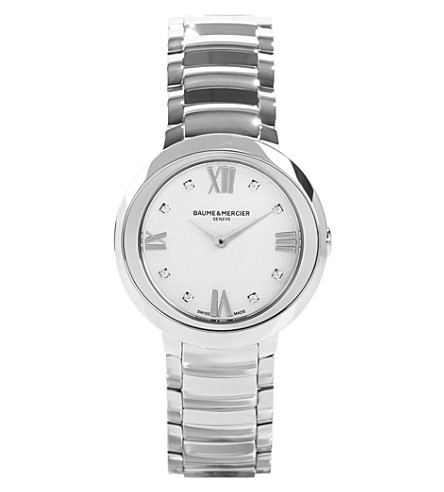 BAUME & MERCIER M0a10158 Promesse stainless steel and diamond watch (White