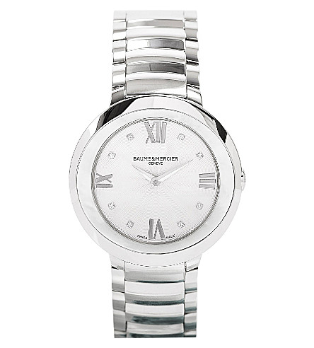 BAUME & MERCIER M0A10178 Promesse stainless steel, mother-of-pearl and diamond watch (Silver