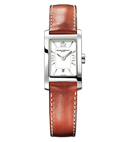 BAUME & MERCIER M0A10186 Hampton stainless steel and leather watch (White