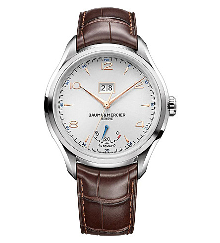 BAUME & MERCIER M0a10205 Clifton stainless steel and leather watch (Silver