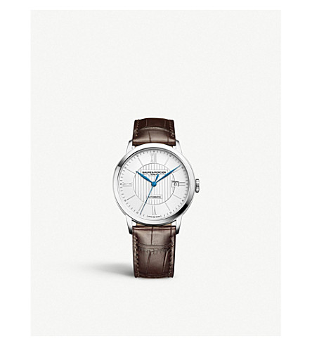 BAUME & MERCIER M0a10214 Classima stainless steel and leather watch (Silver
