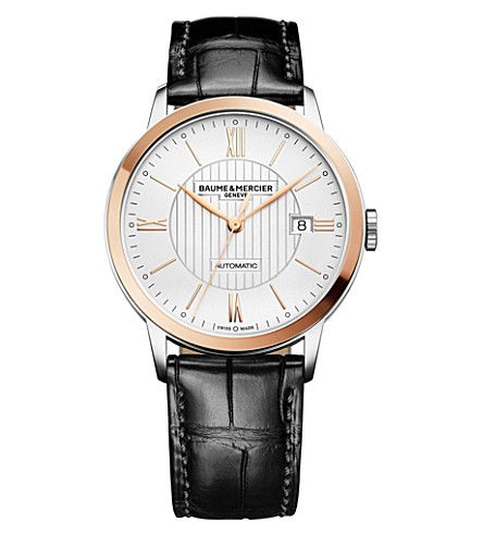 BAUME & MERCIER Classima 10216 stainless steel and alligator-leather watch (Silver