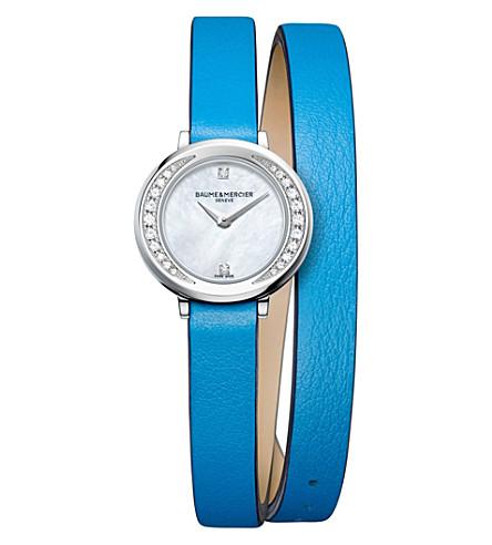 BAUME & MERCIER 10288 娇小 Promesse 皮革和钻石手表