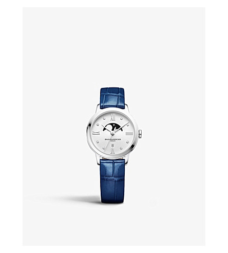 BAUME & MERCIER 10329 Classima stainless steel, diamond and alligator-leather watch