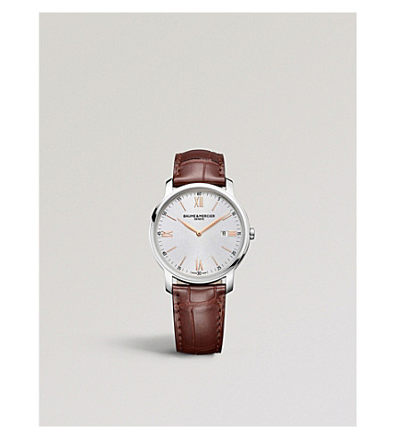 BAUME & MERCIER M0A10380 Classima leather and stainless steel watch