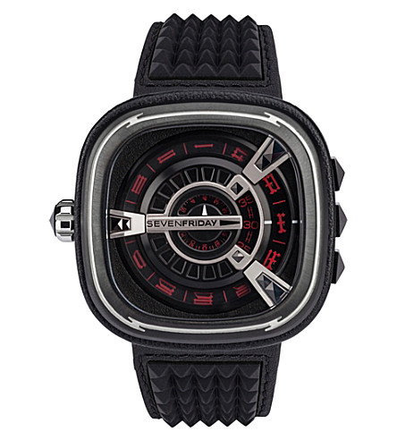 SEVEN FRIDAY M1/04 Punk leather watch (Black