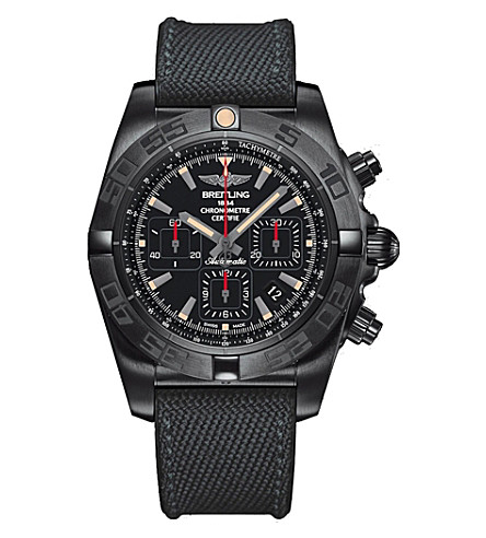 BREITLING MB0111C3|BE35|253S Chronomat 44 Black steel and military rubber chronograph watch