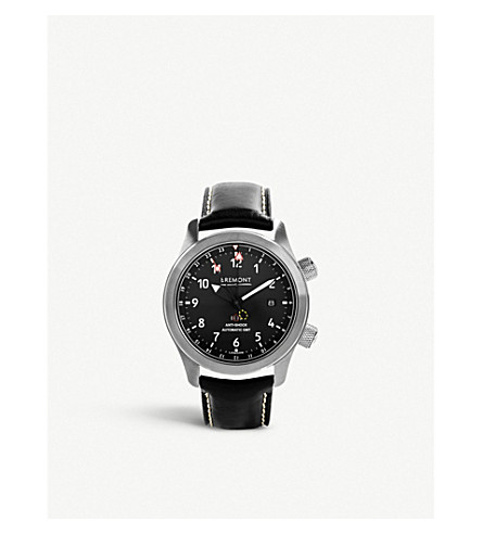 BREMONT MBIII/BZ Martin Baker stainless steel adn leather watch (Black