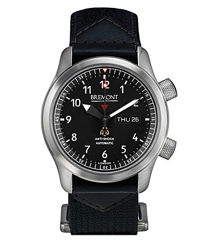 BREMONT MBII-BK/GN Martin Baker stainless steel and leather watch