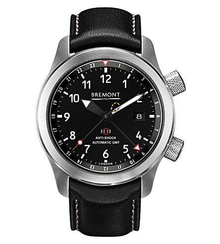BREMONT MB111 OR Martin Baker stainless steel and leather watch