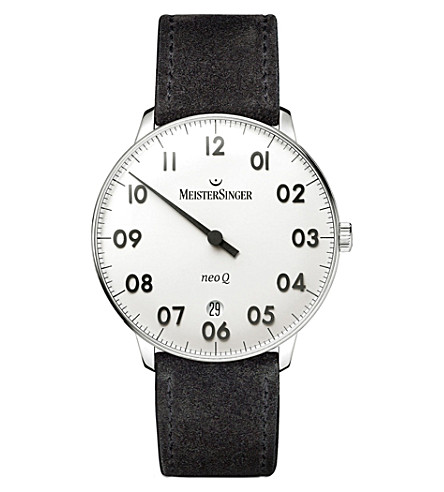MEISTERSINGER NQ901GN Neo Q stainless steel and leather watch (Silver