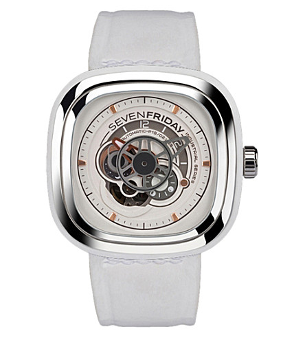 SEVEN FRIDAY P1B/02 leather and stainless steel watch (White