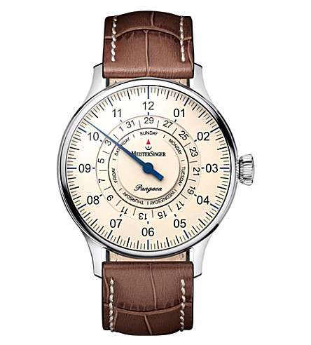 MEISTERSINGER PDD903 Pangaea stainless steel and leather watch (Cream