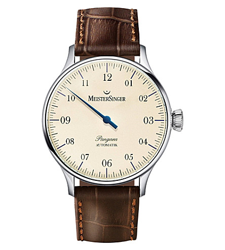 MEISTERSINGER PM903 Pangaea stainless steel and leather watch (Cream