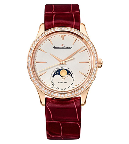 JAEGER-LECOULTRE Q1252501 Master Ultra Thin Moon diamond, rose gold-plated stainless steel and alligator leather watch