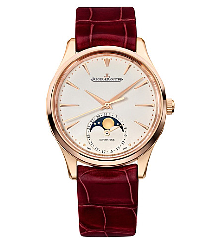 JAEGER LE COULTRE Q1252520 Master Ultra Thin Moon rose gold-plated stainless steel and alligator leather watch