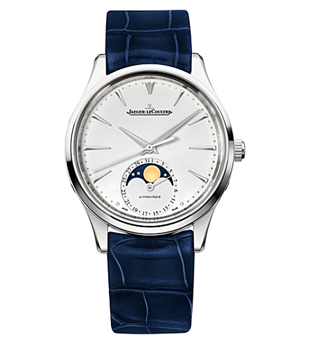JAEGER LE COULTRE Q1258420 Master Ultra Thin Moon stainless steel and alligator leather watch