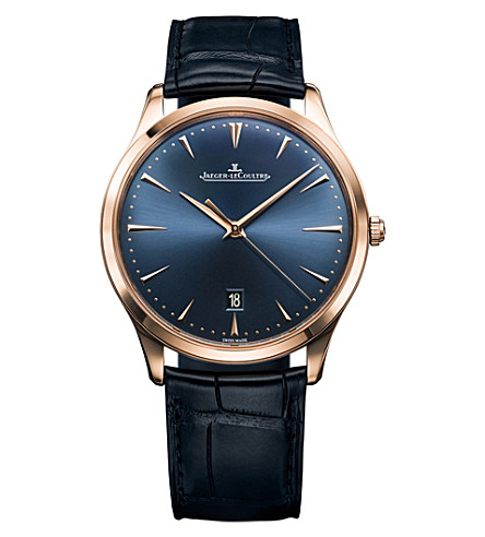 JAEGER LE COULTRE Q128258S Master alligator-leather and rose gold watch