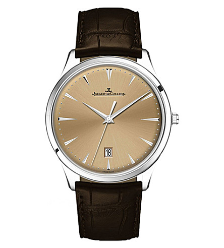JAEGER LE COULTRE 1288430 Master alligator-leather and stainless steel watch