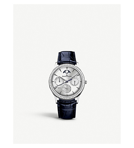 JAEGER LE COULTRE Q1538420 Master stainless steel, diamond and alligator leather watch