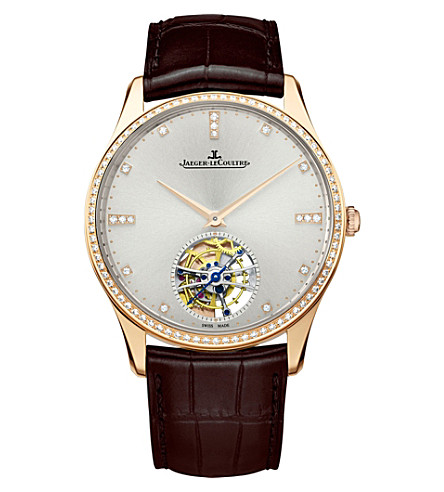 JAEGER LE COULTRE Q1322401 Master Ultra Thin alligator-leather and diamond watch