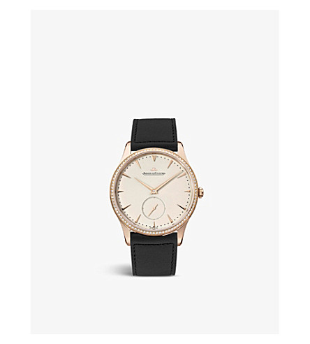 JAEGER LE COULTRE Q1352502 18ct rose-gold and leather watch