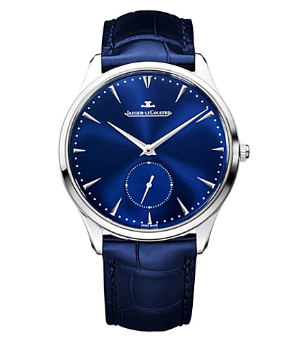JAEGER LE COULTRE Q1358480 automatic stainless steel leather strap watch