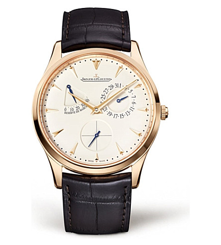 JAEGER LE COULTRE Q1372520 Ultra Thin Reserve de Marche rose gold-plated stainless steel and leather watch
