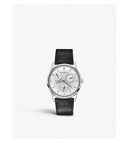 JAEGER LE COULTRE Q1378420 Ultra Thin Reserve de Marche stainless steel and leather watch