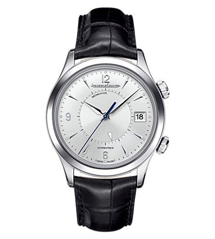 JAEGER LE COULTRE Q1418430 Master Memovox stainless steel and alligator leather watch